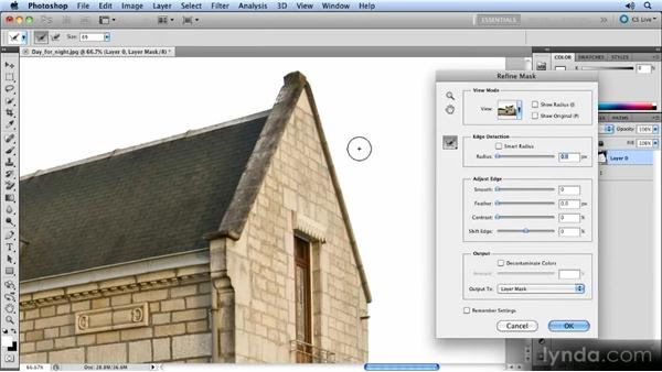 Touching up the layer mask: Photoshop Artist in Action: Steve Caplin's Day for Night