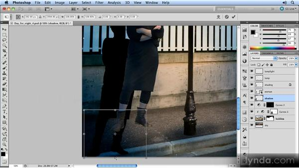 Adding a shadow: Photoshop Artist in Action: Steve Caplin's Day for Night