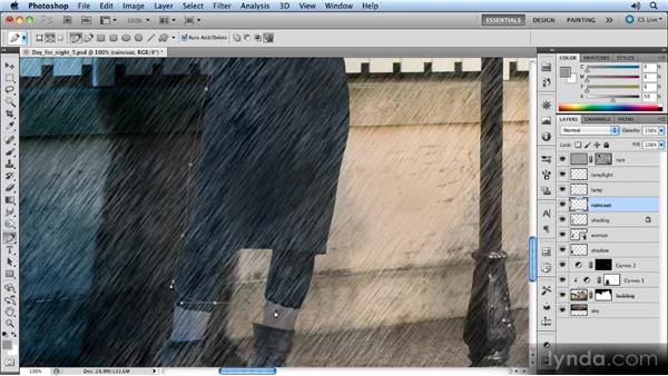 Drawing the raincoat: Photoshop Artist in Action: Steve Caplin's Day for Night