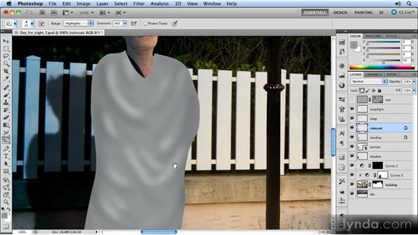 Adding shading and texture to the coat: Photoshop Artist in Action: Steve Caplin's Day for Night