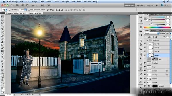 Combining parts of the reflection into a group: Photoshop Artist in Action: Steve Caplin's Day for Night