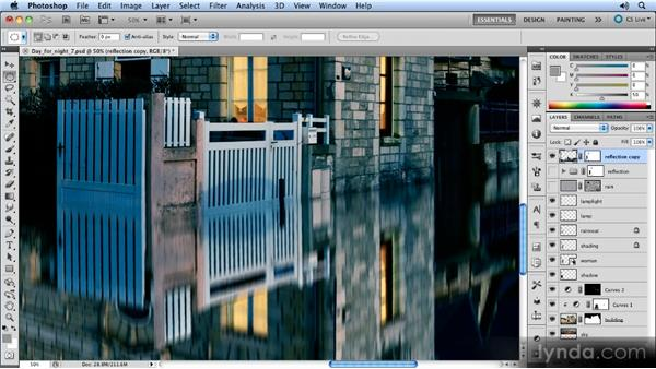 Adding filters to the reflection: Photoshop Artist in Action: Steve Caplin's Day for Night