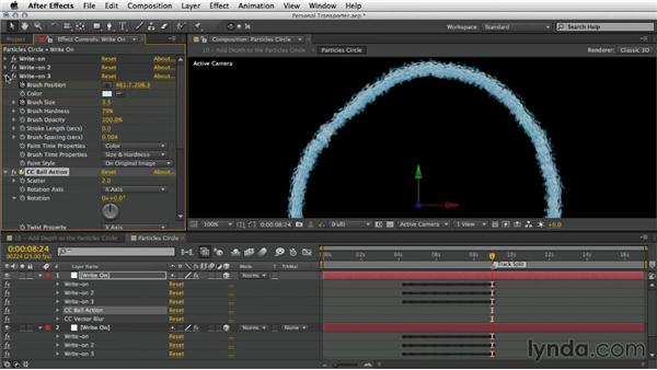Adding depth to the circle of particles: After Effects Artist in Action: Eran Stern's Personal Transporter