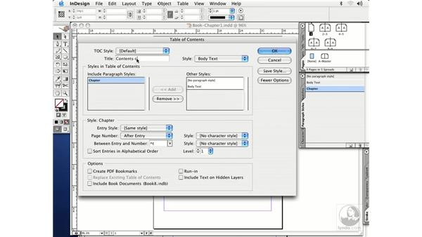 table of contents: InDesign CS Essential Training