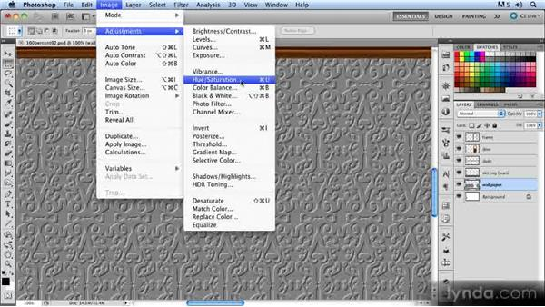Embossing and coloring the wallpaper: Creating a Hallway Scene with Photoshop