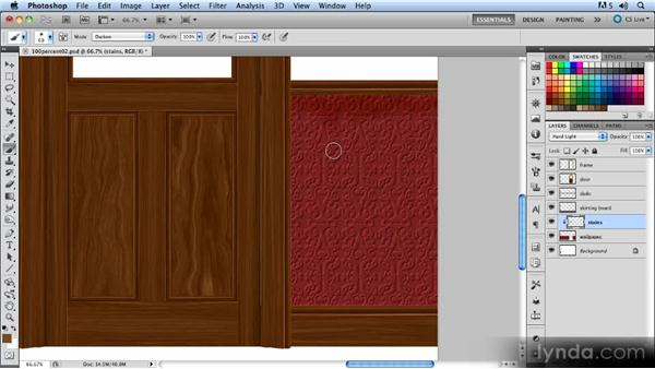 Aging and staining the wallpaper: Creating a Hallway Scene with Photoshop