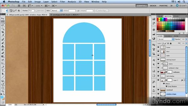 Drawing the inner window shape: Creating a Hallway Scene with Photoshop