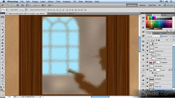 Creating the glass texture: Creating a Hallway Scene with Photoshop