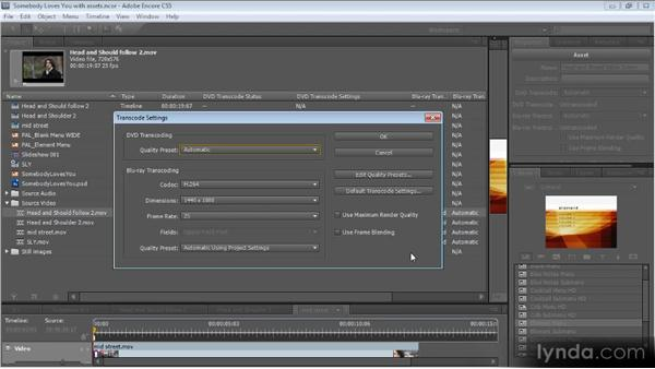 Compression settings: Up and Running with Encore CS5