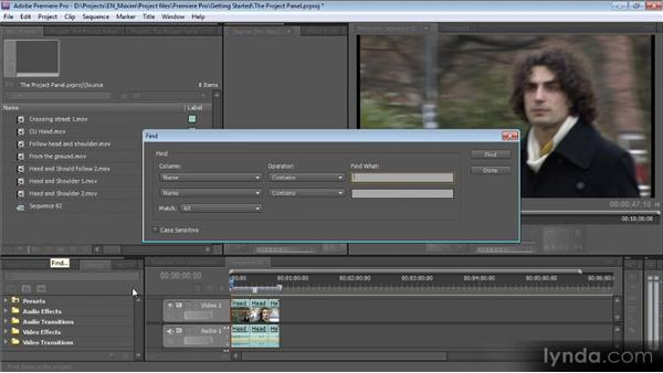 The Project panel: Getting Started with Premiere Pro CS5