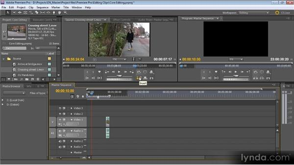 Adding clips to a sequence: Getting Started with Premiere Pro CS5
