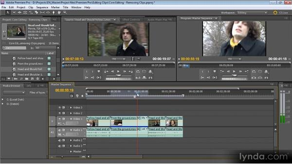 Removing clips from a sequence: Getting Started with Premiere Pro CS5