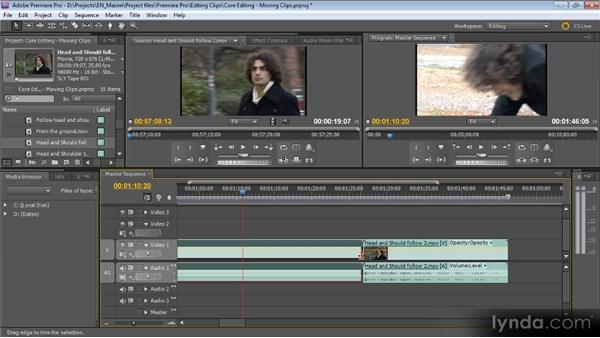 Moving clips around in a sequence and trimming: Getting Started with Premiere Pro CS5