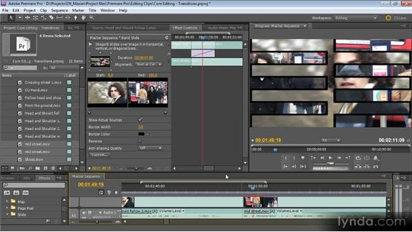 Adding and adjusting transitions: Getting Started with Premiere Pro CS5