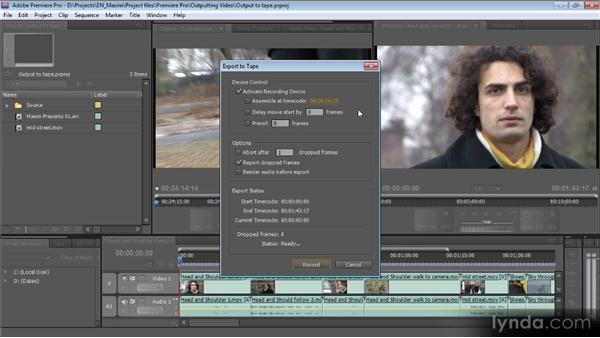 Outputting directly to tape: Getting Started with Premiere Pro CS5