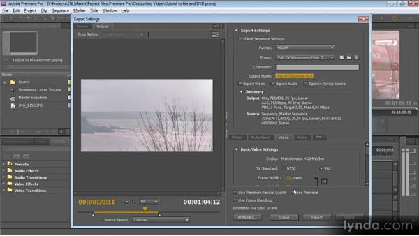 Outputting to file: Getting Started with Premiere Pro CS5