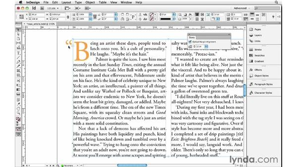 Adding hanging punctuation with Optical Margin Alignment: InDesign Insider Training: Beyond the Essentials