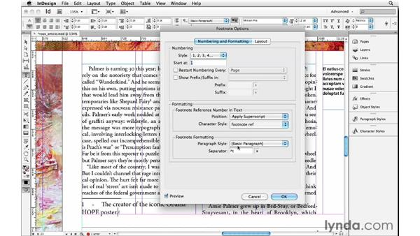 Including footnotes: InDesign Insider Training: Beyond the Essentials
