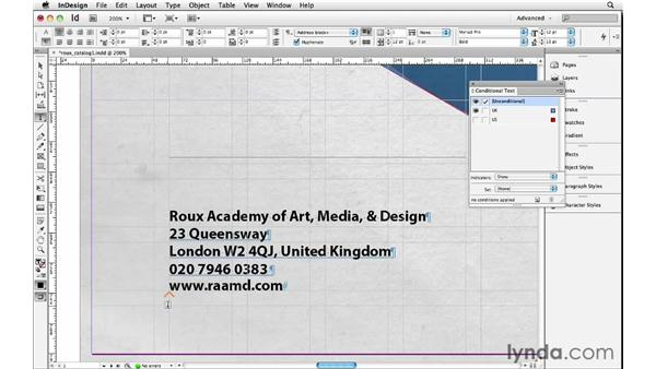 Exploring conditional text: InDesign Insider Training: Beyond the Essentials