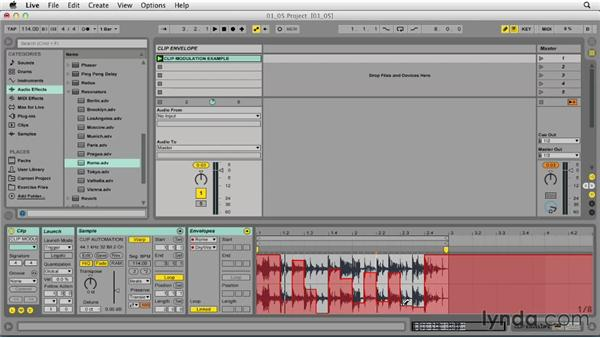 Creating evolving elements by offsetting region and clip envelope length: Ableton Live 9 Tips and Tricks