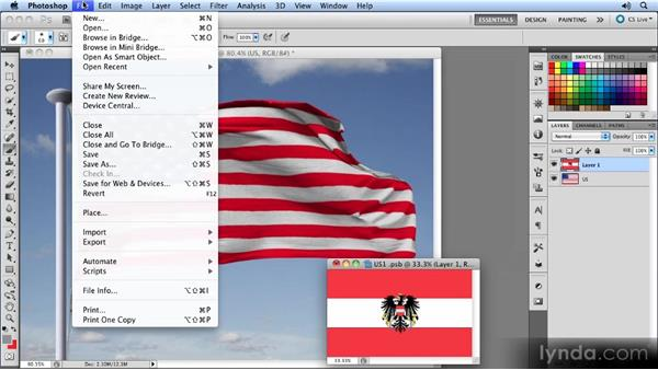 Replacing the flag: Photoshop CS5 Smart Objects Workshop