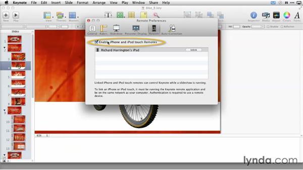 Pairing Keynote Remote over a network: Delivering Keynote Presentations