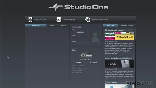 Navigating the Start page: Up and Running with Studio One
