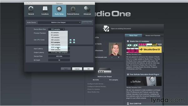 Configuring your audio devices: Up and Running with Studio One