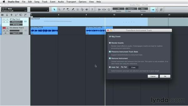 Converting MIDI to audio with Track Transform: Up and Running with Studio One