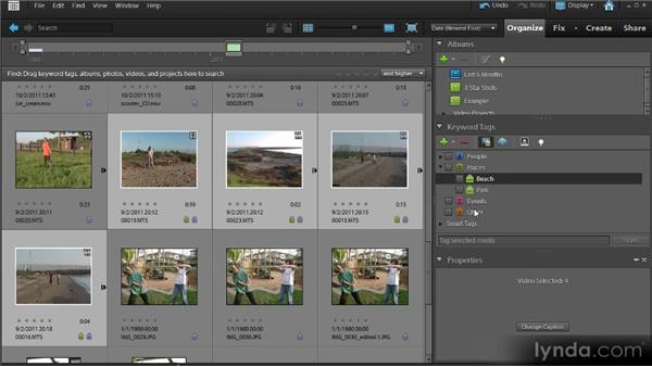 Choosing video clips with the Organizer: Up and Running with Premiere Elements 9