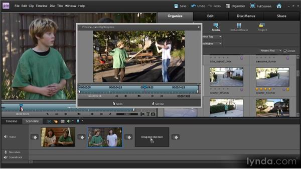 Arranging clips using the Sceneline: Up and Running with Premiere Elements 9