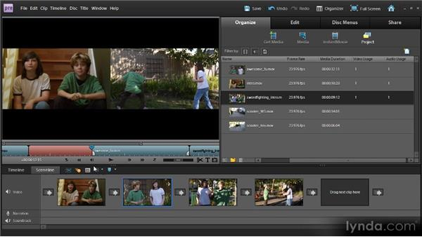 Moving and deleting clips in the Sceneline: Up and Running with Premiere Elements 9