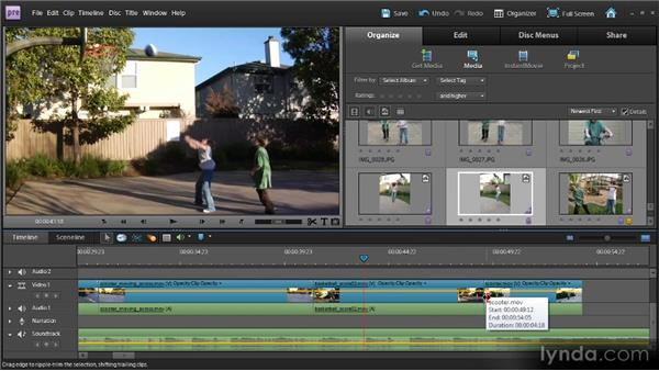 Moving and deleting clips using the Timeline: Up and Running with Premiere Elements 9