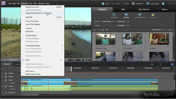 Rendering and previewing your movie: Up and Running with Premiere Elements 9