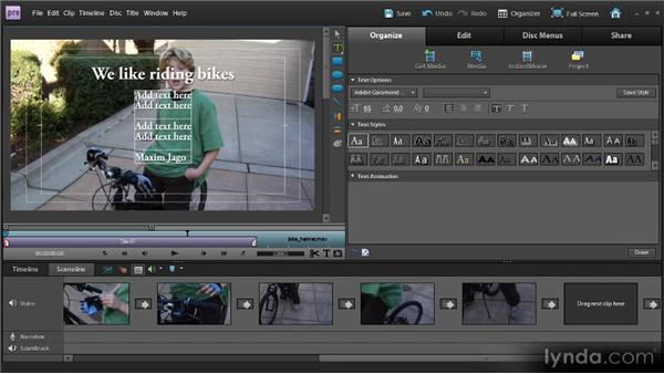 Creating titles: Up and Running with Premiere Elements 9
