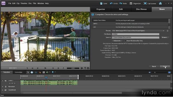 Creating a movie file: Up and Running with Premiere Elements 9