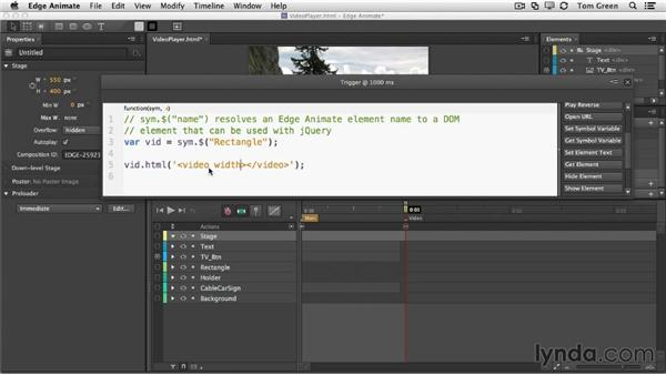 Embedding your video into your Animate project: Creating Interactive Projects with Edge Animate