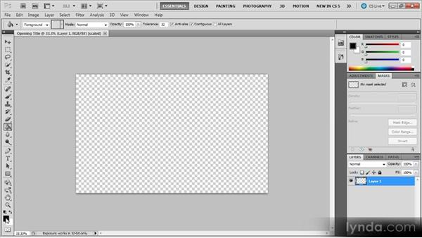 Creating a new item: Photoshop CS5 for Video Editors