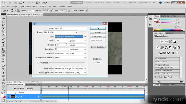 Template image types: Photoshop CS5 for Video Editors