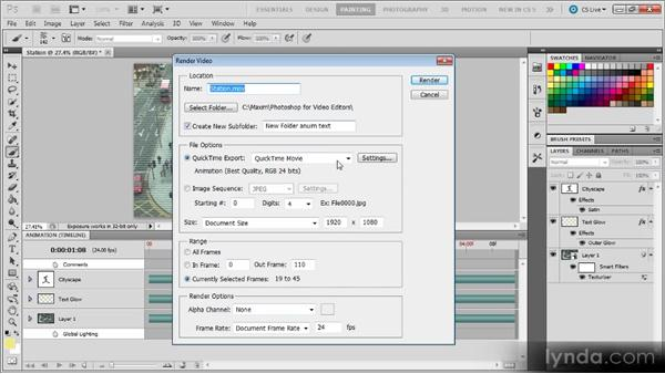 Exporting video from Photoshop: Photoshop CS5 for Video Editors