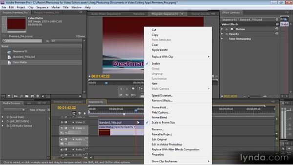 Working with Photoshop documents in Premiere Pro: Photoshop CS5 for Video Editors