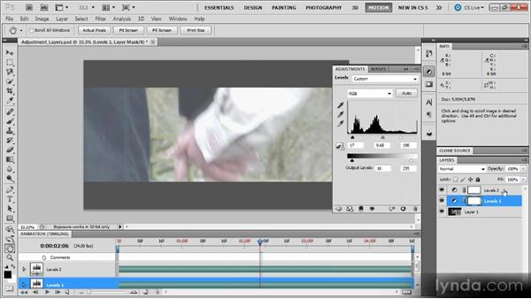 Applying an adjustment layer: Photoshop CS5 for Video Editors