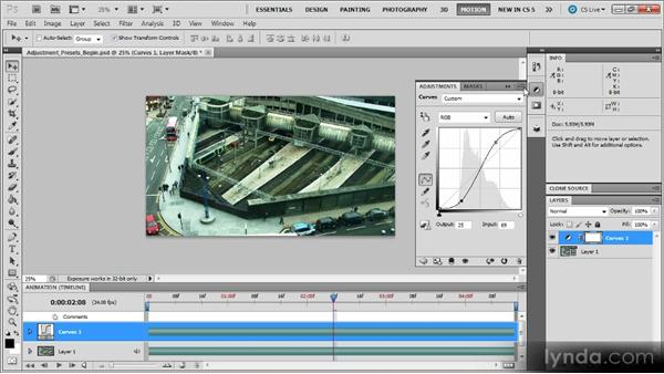 Creating and using adjustment layer presets: Photoshop CS5 for Video Editors