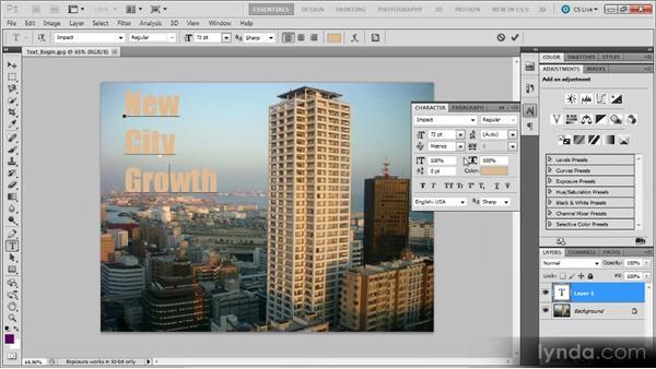 Adding text: Photoshop CS5 for Video Editors