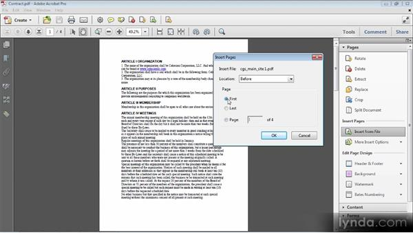 Inserting pages from other files: Up and Running with Acrobat X