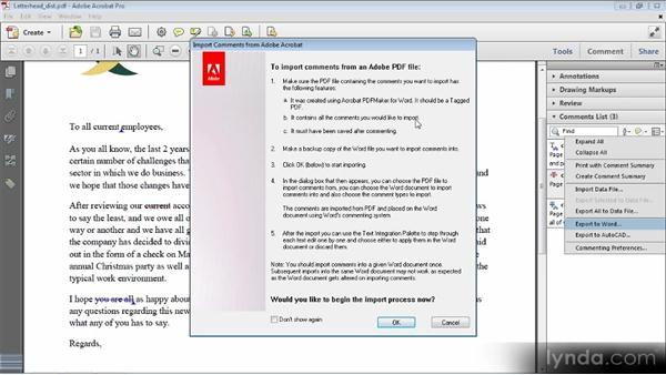 Round-trip comments with Microsoft Word: Up and Running with Acrobat X
