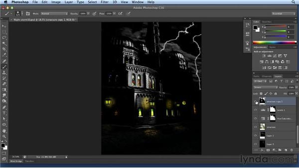 Adding lightning on a building and the street: Bert Monroy: Dreamscapes Volume 2
