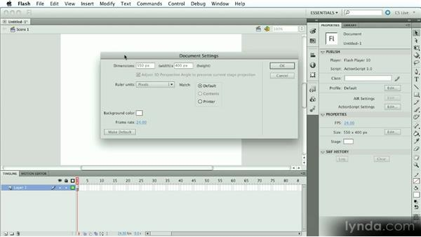 Choosing the proper document size: Introduction to Flash Animation