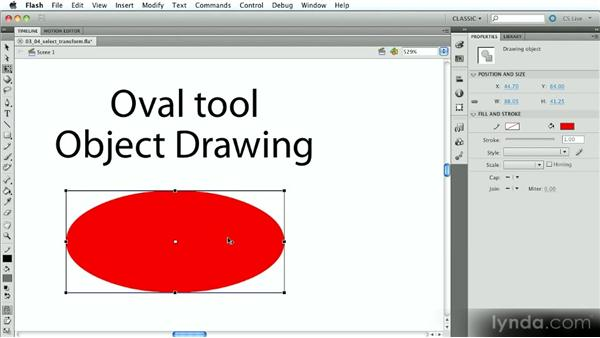 Selecting, modifying, and transforming objects: Introduction to Flash Animation