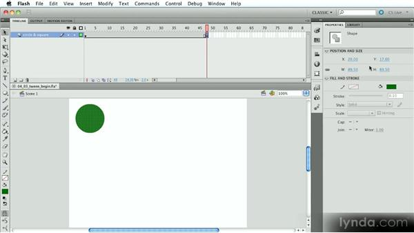 Working with multiple shape tweens: Introduction to Flash Animation
